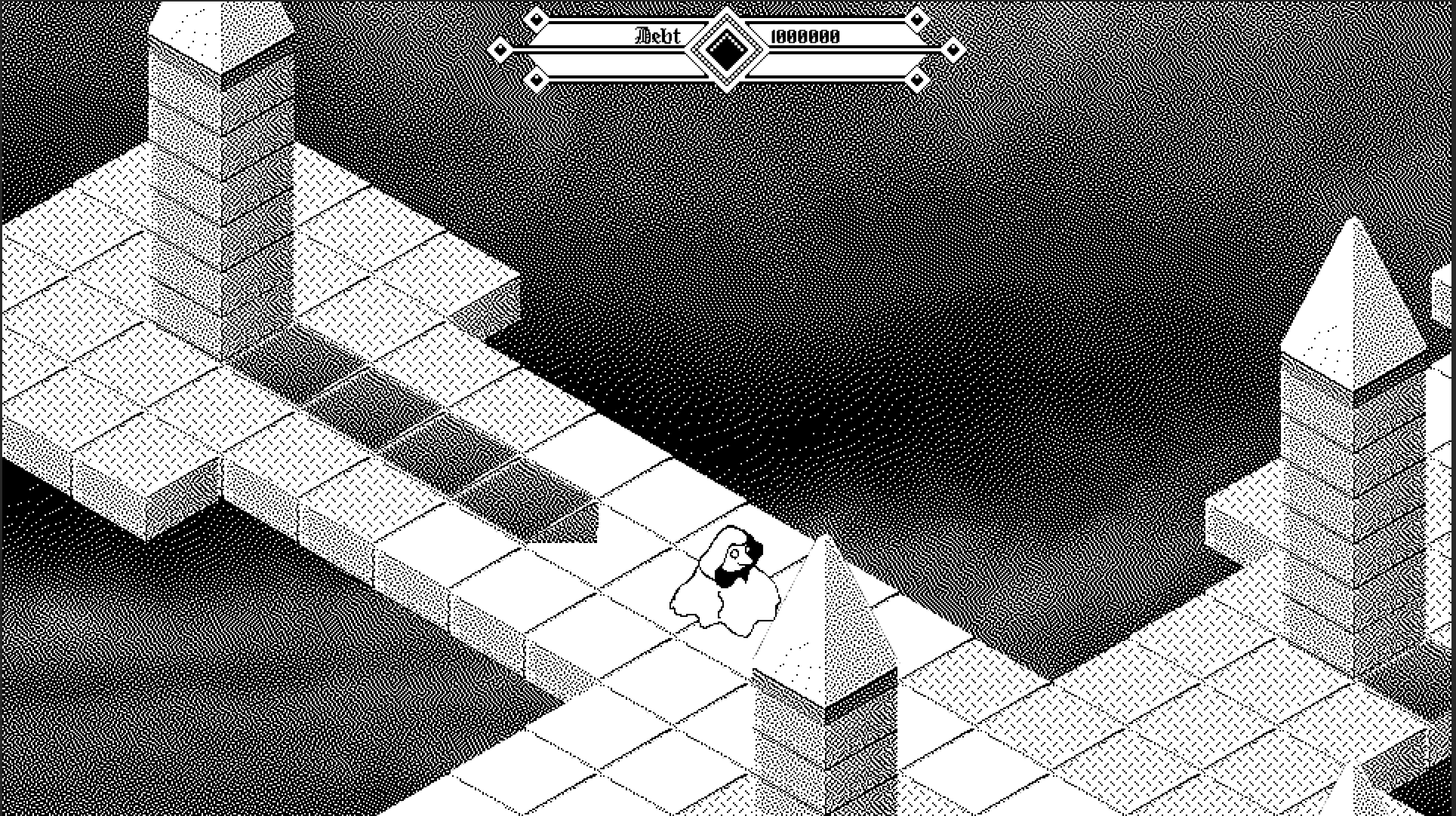 screenshot of obelisk game with patterns drawn on ground tiles