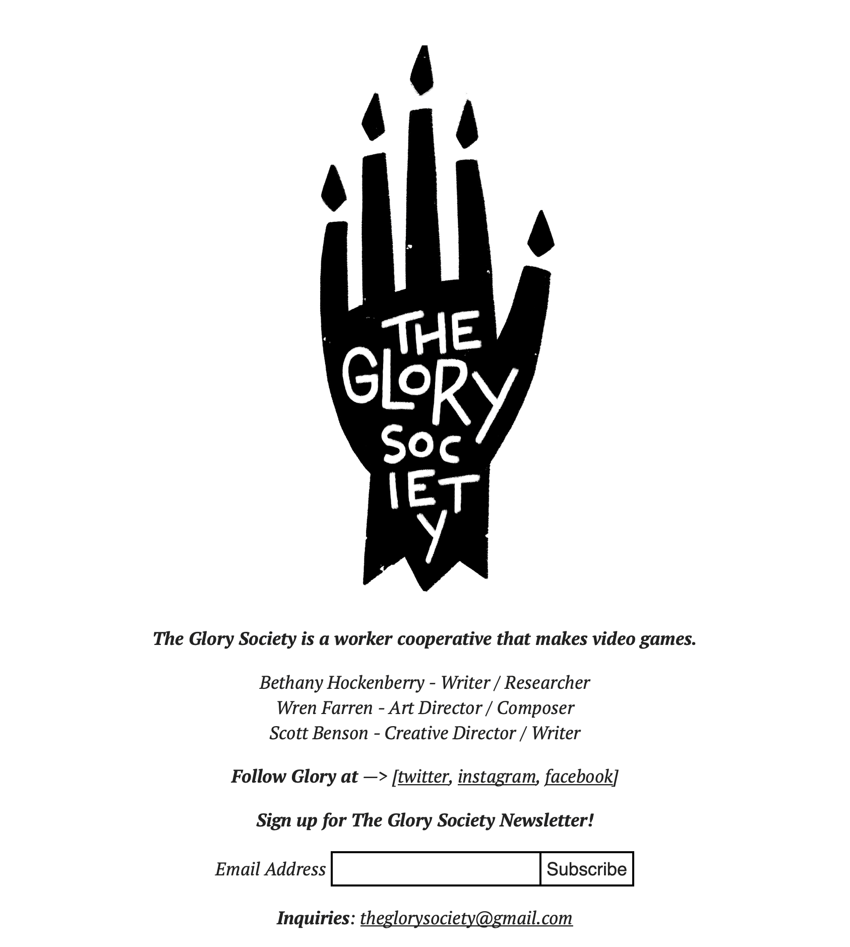 a screenshot of the The Glory Society website